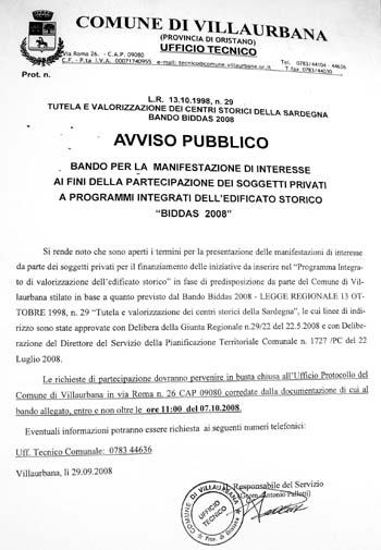 Clicca per ingrandire il comunicato del bando Biddas 2008