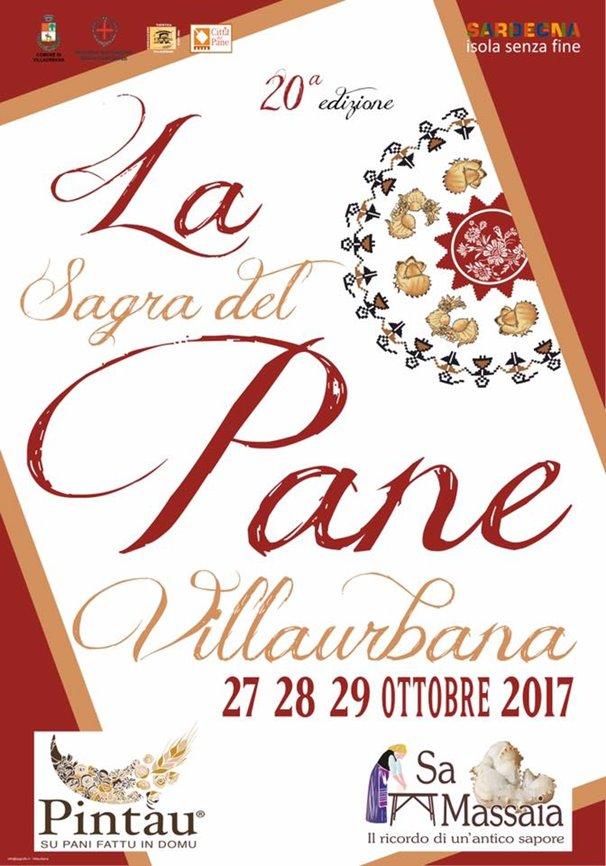 Manifesto della Ventesima Sagra del Pane a  Villaurbana: 27, 28 e 29 Ottobre 2017