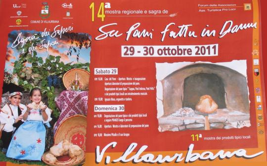 """Quattordicesima Sagra de """"Su Pani Fattu in Domu"""" il 29 e 30 Ottobre 2011 nel centro storico di Villaurbana"""