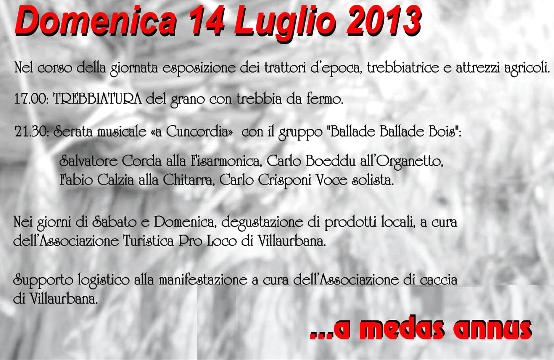 """Festa de """"S'Incungia"""": programma di Domenica 14 Luglio 2013"""