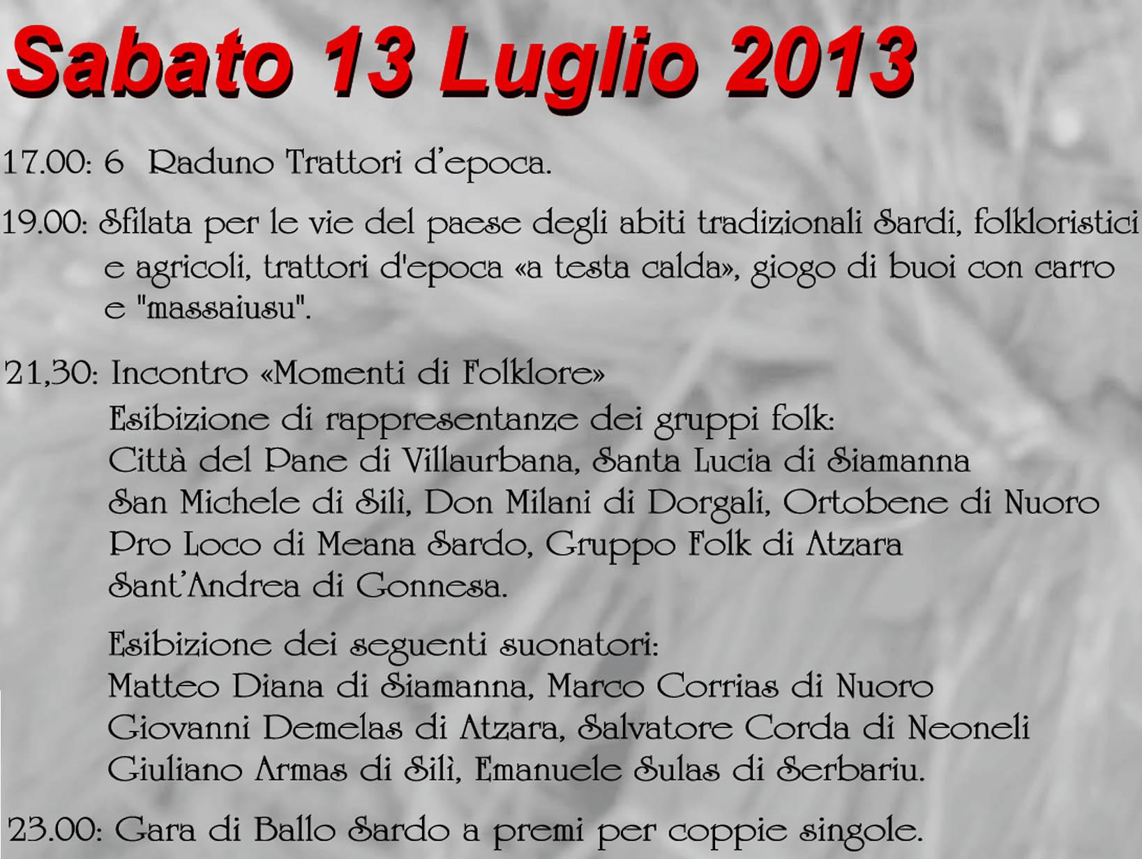 """Festa de""""S'Incungia"""": Programma di Sabato 13 Luglio 2013"""