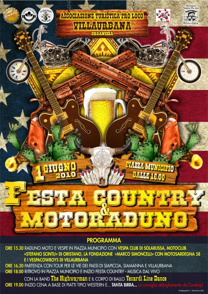Festa Country & Motoraduno a Villaurbana: sabato 1° Giugno 2019 a partire dalle 16 nella piazza del Comune